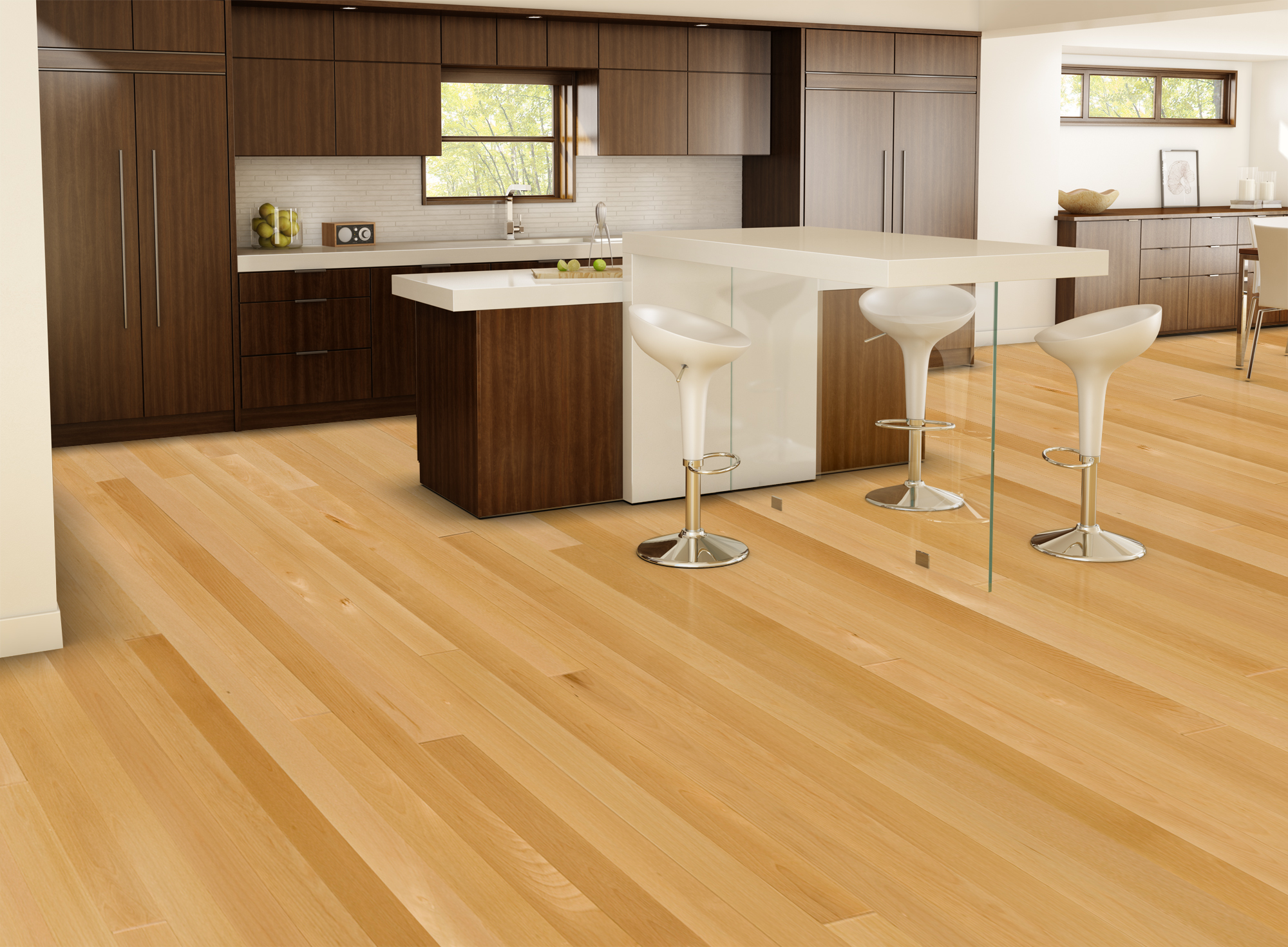 Natural ambiance yellow birch select better lauzon for Contemporary flooring